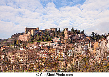 stadt, wenig, castrocaro, italien, terme, cityscape