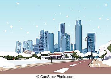 stadt, winter, modern, schnee, wolkenkratzer, cityscape, straße, ansicht