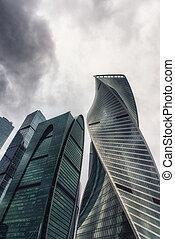 stadt, wolkenkratzer, geschaeftswelt, moskauer , international, ansicht, zentrieren