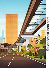 stadt, wolkenkratzer, modern, cityscape, eisenbahn, straße, ansicht