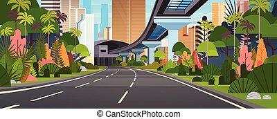 stadt, wolkenkratzer, modern, landstraße, horizontal, banner, eisenbahn, straße, ansicht