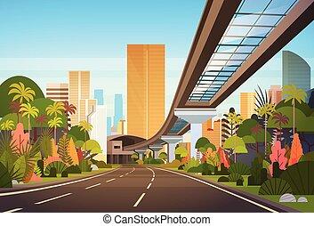 stadt, wolkenkratzer, modern, skyline, straße, cityscape, eisenbahn, landstraße, ansicht