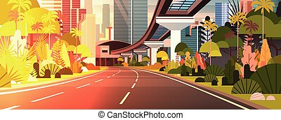 stadt, wolkenkratzer, modern, sonnenuntergang, landstraße, horizontal, banner, eisenbahn, straße, ansicht