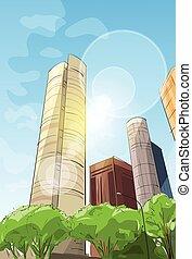 stadt, wolkenkratzer, skizze, ansicht, cityscape, skyline