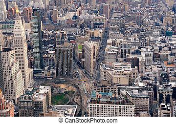 stadt, wolkenkratzer, skyline, york, neu , manhattan