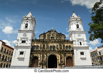 stadt, zentral, panama, piazza, casco, antig, kathedrale,...