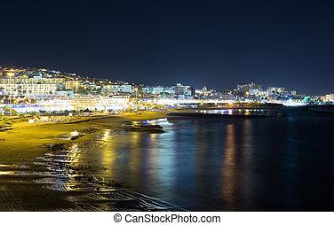 stadtansicht, meer, nacht