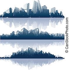 stadtansichten, silhouetten, hintergrund