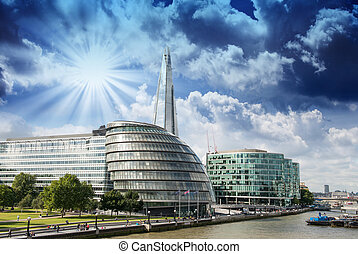 stadtbrücke , -, fluß, panoramisch, london, vereinigtes...
