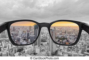 stadtfarbe, ansicht, brille, spiegel, durch, blindheit,...