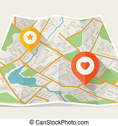 stadtlandkarte, abstrakt, gefaltet, ort, markers.