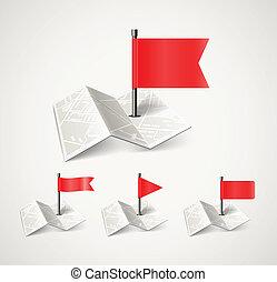 stadtlandkarte, abstrakt, gefaltet, sammlung, flaggen