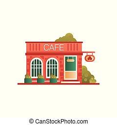 stadtstraße, abbildung, öffentlichkeit, vektor, café, hintergrund, front, weißes, gebäude, ansicht