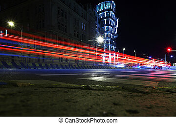 stadtstraße, nacht