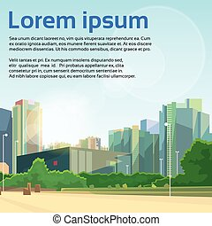 stadtstraße, vektor, wolkenkratzer, cityscape, ansicht