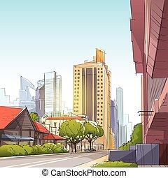 stadtstraße, wolkenkratzer, ansicht, skizze, cityscape