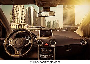 stadtzentrum, auto, durch