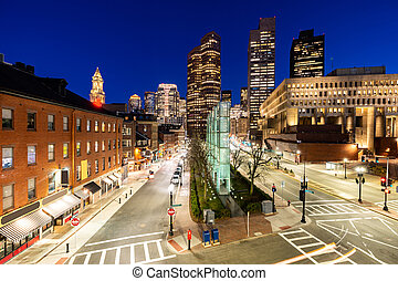 stadtzentrum, boston, cityscape, sonnenuntergang