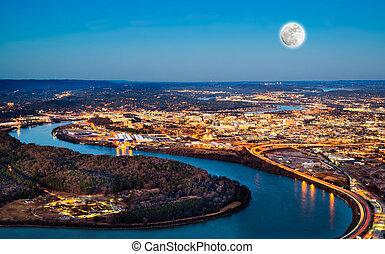 stadtzentrum, chattanooga, nacht