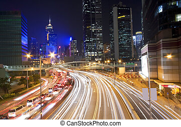 stadtzentrum, hongkong, verkehr, nacht