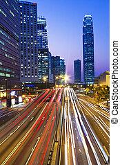 stadtzentrum, hongkong, verkehr, obwohl