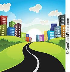 stadtzentrum, karikatur, landschaftsbild