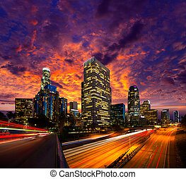 stadtzentrum, la, angeles, los, skyline, sonnenuntergang, ...