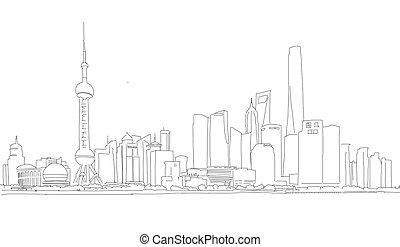 stadtzentrum, panorama, skizze, shanghai, grobdarstellung