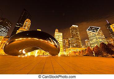 stadtzentrum, park, jahrtausend, chicago
