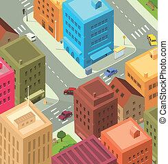 stadtzentrum, stadt, -, karikatur