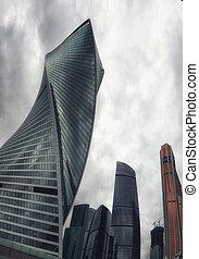 stadtzentrum, wolkenkratzer, geschaeftswelt, landschaftlich, moskauer , international, skyline, russland, ansicht