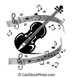 Staff and Notes with Violin. Vector Music Illustration. Black Objects Isolated on White Background.