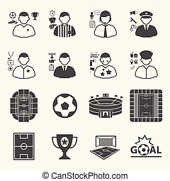 Staff and people in soccer championship icons. Collection of symbol soccer. Vector icons set
