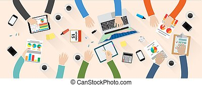 Staff around table - Group of people working, planning, ...