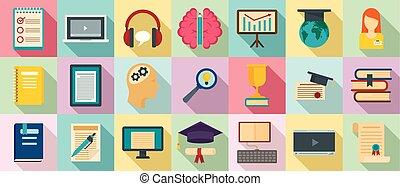Staff education icons set, flat style