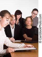 staff meeting portrait