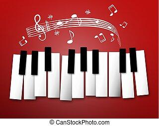staff., notas, keys., experiência., música, piano, abstratos
