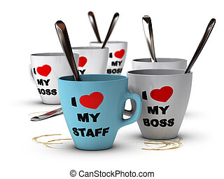 Staff Relations and Motivation, Workplace - Many mugs where...