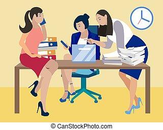 staff., reunião, professores, minimalista, isometric, vetorial, style., apartamento, ensinando, room.