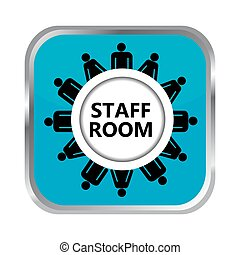 Staff room button - Staff room blue button on white...