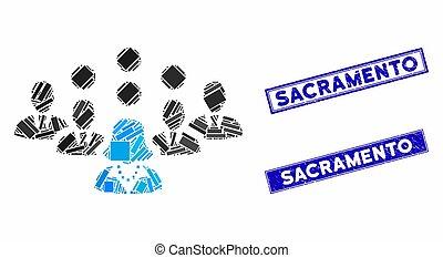 Staff Team Mosaic and Distress Rectangle Sacramento Stamp Seals