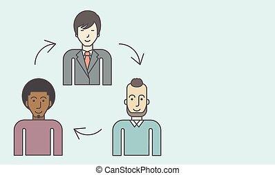 Staff turnover. - Three employee and circular arrows between...
