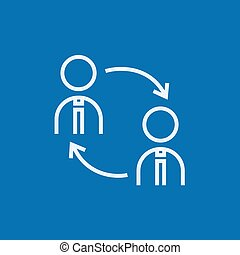 Staff turnover line icon. - Staff turnover thick line icon ...