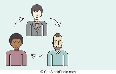 Three employee and circular arrows between them. Staff turnover concept. Vector line design illustration. Horizontal layout with a text space.