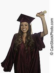 staffeln, in, kappe kleid, mit, diplom