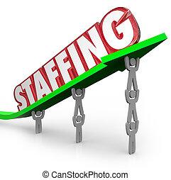 staffing, słowo, strzała, podniesiony, przez, pracownicy,...