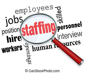 Staffing words under a magnifying glass with related terms...