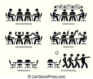 stafmedewerkers, hebben, effectief, en, efficiënt, vergadering, en, discussion.