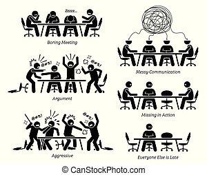 stafmedewerkers, hebben, ondoeltreffend, en, ondoelmatig, vergadering, en, discussion.