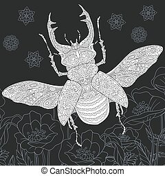 Stag beetle and poppy flowers line art. Coloring book page.